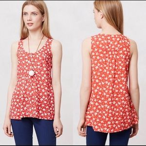 Anthropologie Maeve Red Floral Tank Top
